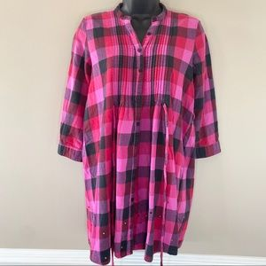 PINK Plaid Dress with Rhinestones and 3/4 Sleeves